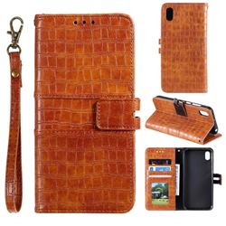 Luxury Crocodile Magnetic Leather Wallet Phone Case for Mi Xiaomi Redmi 7A - Brown
