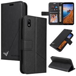 GQ.UTROBE Right Angle Silver Pendant Leather Wallet Phone Case for Mi Xiaomi Redmi 7A - Black