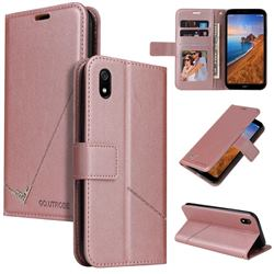 GQ.UTROBE Right Angle Silver Pendant Leather Wallet Phone Case for Mi Xiaomi Redmi 7A - Rose Gold