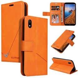 GQ.UTROBE Right Angle Silver Pendant Leather Wallet Phone Case for Mi Xiaomi Redmi 7A - Orange