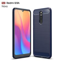 Luxury Carbon Fiber Brushed Wire Drawing Silicone TPU Back Cover for Mi Xiaomi Redmi 8 - Navy