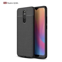 Luxury Auto Focus Litchi Texture Silicone TPU Back Cover for Mi Xiaomi Redmi 8 - Black