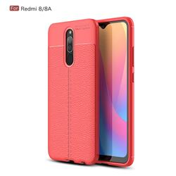 Luxury Auto Focus Litchi Texture Silicone TPU Back Cover for Mi Xiaomi Redmi 8 - Red