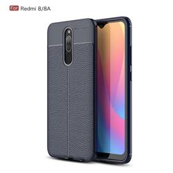 Luxury Auto Focus Litchi Texture Silicone TPU Back Cover for Mi Xiaomi Redmi 8 - Dark Blue