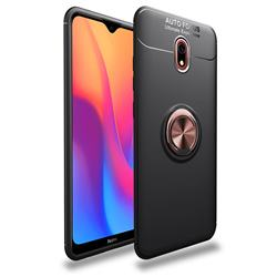 Auto Focus Invisible Ring Holder Soft Phone Case for Mi Xiaomi Redmi 8 - Black Gold