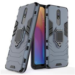 Black Panther Armor Metal Ring Grip Shockproof Dual Layer Rugged Hard Cover for Mi Xiaomi Redmi 8 - Blue