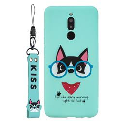 Green Glasses Dog Soft Kiss Candy Hand Strap Silicone Case for Mi Xiaomi Redmi 8
