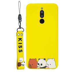 Yellow Bear Family Soft Kiss Candy Hand Strap Silicone Case for Mi Xiaomi Redmi 8