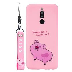 Pink Cute Pig Soft Kiss Candy Hand Strap Silicone Case for Mi Xiaomi Redmi 8