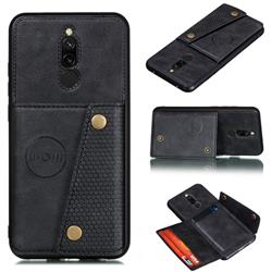 Retro Multifunction Card Slots Stand Leather Coated Phone Back Cover for Mi Xiaomi Redmi 8 - Black