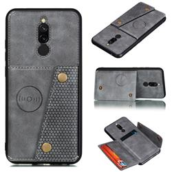 Retro Multifunction Card Slots Stand Leather Coated Phone Back Cover for Mi Xiaomi Redmi 8 - Gray