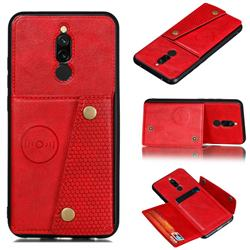 Retro Multifunction Card Slots Stand Leather Coated Phone Back Cover for Mi Xiaomi Redmi 8 - Red