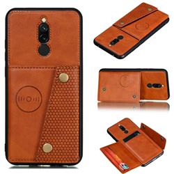 Retro Multifunction Card Slots Stand Leather Coated Phone Back Cover for Mi Xiaomi Redmi 8 - Brown