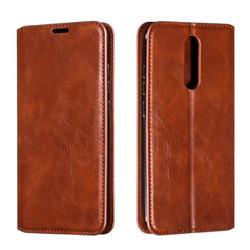 Retro Slim Magnetic Crazy Horse PU Leather Wallet Case for Mi Xiaomi Redmi 8 - Brown