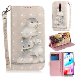 Three Squirrels 3D Painted Leather Wallet Phone Case for Mi Xiaomi Redmi 8