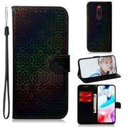 Laser Circle Shining Leather Wallet Phone Case for Mi Xiaomi Redmi 8 - Black