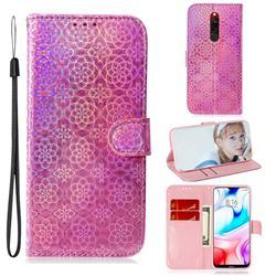 Laser Circle Shining Leather Wallet Phone Case for Mi Xiaomi Redmi 8 - Pink