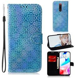 Laser Circle Shining Leather Wallet Phone Case for Mi Xiaomi Redmi 8 - Blue