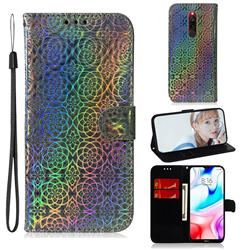 Laser Circle Shining Leather Wallet Phone Case for Mi Xiaomi Redmi 8 - Silver
