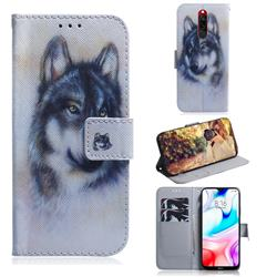 Snow Wolf PU Leather Wallet Case for Mi Xiaomi Redmi 8
