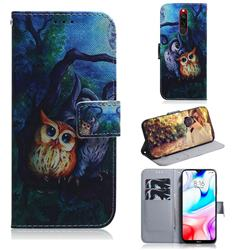 Oil Painting Owl PU Leather Wallet Case for Mi Xiaomi Redmi 8