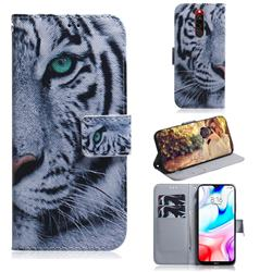 White Tiger PU Leather Wallet Case for Mi Xiaomi Redmi 8