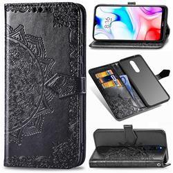 Embossing Imprint Mandala Flower Leather Wallet Case for Mi Xiaomi Redmi 8 - Black