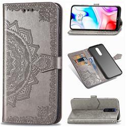 Embossing Imprint Mandala Flower Leather Wallet Case for Mi Xiaomi Redmi 8 - Gray