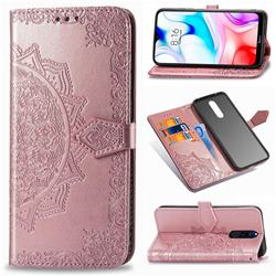 Embossing Imprint Mandala Flower Leather Wallet Case for Mi Xiaomi Redmi 8 - Rose Gold