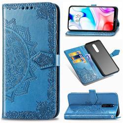 Embossing Imprint Mandala Flower Leather Wallet Case for Mi Xiaomi Redmi 8 - Blue