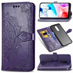 Embossing Imprint Mandala Flower Leather Wallet Case for Mi Xiaomi Redmi 8 - Purple