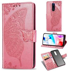 Embossing Mandala Flower Butterfly Leather Wallet Case for Mi Xiaomi Redmi 8 - Pink