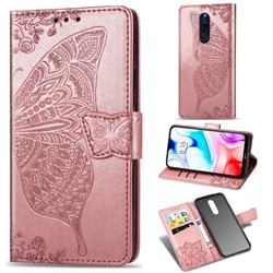 Embossing Mandala Flower Butterfly Leather Wallet Case for Mi Xiaomi Redmi 8 - Rose Gold