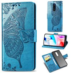 Embossing Mandala Flower Butterfly Leather Wallet Case for Mi Xiaomi Redmi 8 - Blue