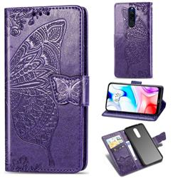 Embossing Mandala Flower Butterfly Leather Wallet Case for Mi Xiaomi Redmi 8 - Dark Purple