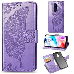 Embossing Mandala Flower Butterfly Leather Wallet Case for Mi Xiaomi Redmi 8 - Light Purple