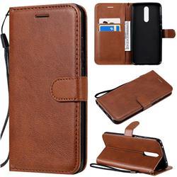 Retro Greek Classic Smooth PU Leather Wallet Phone Case for Mi Xiaomi Redmi 8 - Brown