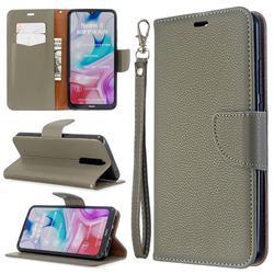 Classic Luxury Litchi Leather Phone Wallet Case for Mi Xiaomi Redmi 8 - Gray