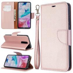 Classic Luxury Litchi Leather Phone Wallet Case for Mi Xiaomi Redmi 8 - Golden