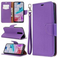 Classic Luxury Litchi Leather Phone Wallet Case for Mi Xiaomi Redmi 8 - Purple