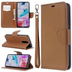 Classic Luxury Litchi Leather Phone Wallet Case for Mi Xiaomi Redmi 8 - Brown
