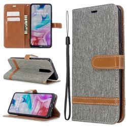 Jeans Cowboy Denim Leather Wallet Case for Mi Xiaomi Redmi 8 - Gray
