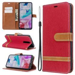 Jeans Cowboy Denim Leather Wallet Case for Mi Xiaomi Redmi 8 - Red