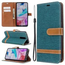Jeans Cowboy Denim Leather Wallet Case for Mi Xiaomi Redmi 8 - Green