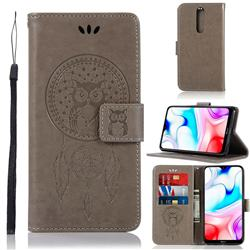 Intricate Embossing Owl Campanula Leather Wallet Case for Mi Xiaomi Redmi 8 - Grey