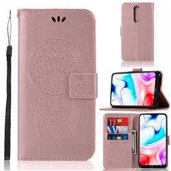 Intricate Embossing Owl Campanula Leather Wallet Case for Mi Xiaomi Redmi 8 - Rose Gold
