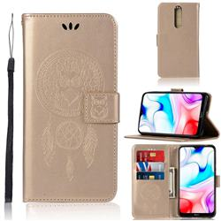 Intricate Embossing Owl Campanula Leather Wallet Case for Mi Xiaomi Redmi 8 - Champagne
