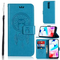 Intricate Embossing Owl Campanula Leather Wallet Case for Mi Xiaomi Redmi 8 - Blue