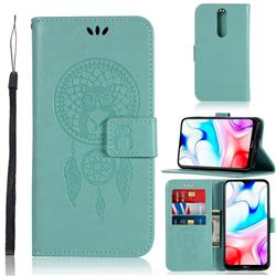Intricate Embossing Owl Campanula Leather Wallet Case for Mi Xiaomi Redmi 8 - Green