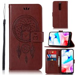 Intricate Embossing Owl Campanula Leather Wallet Case for Mi Xiaomi Redmi 8 - Brown